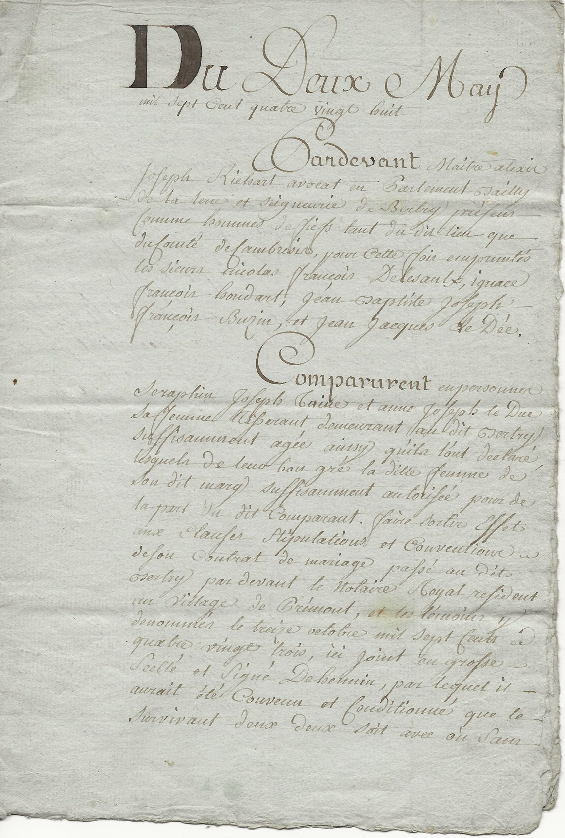 1788 contrat mariage seraphin taine x anne leduc 001