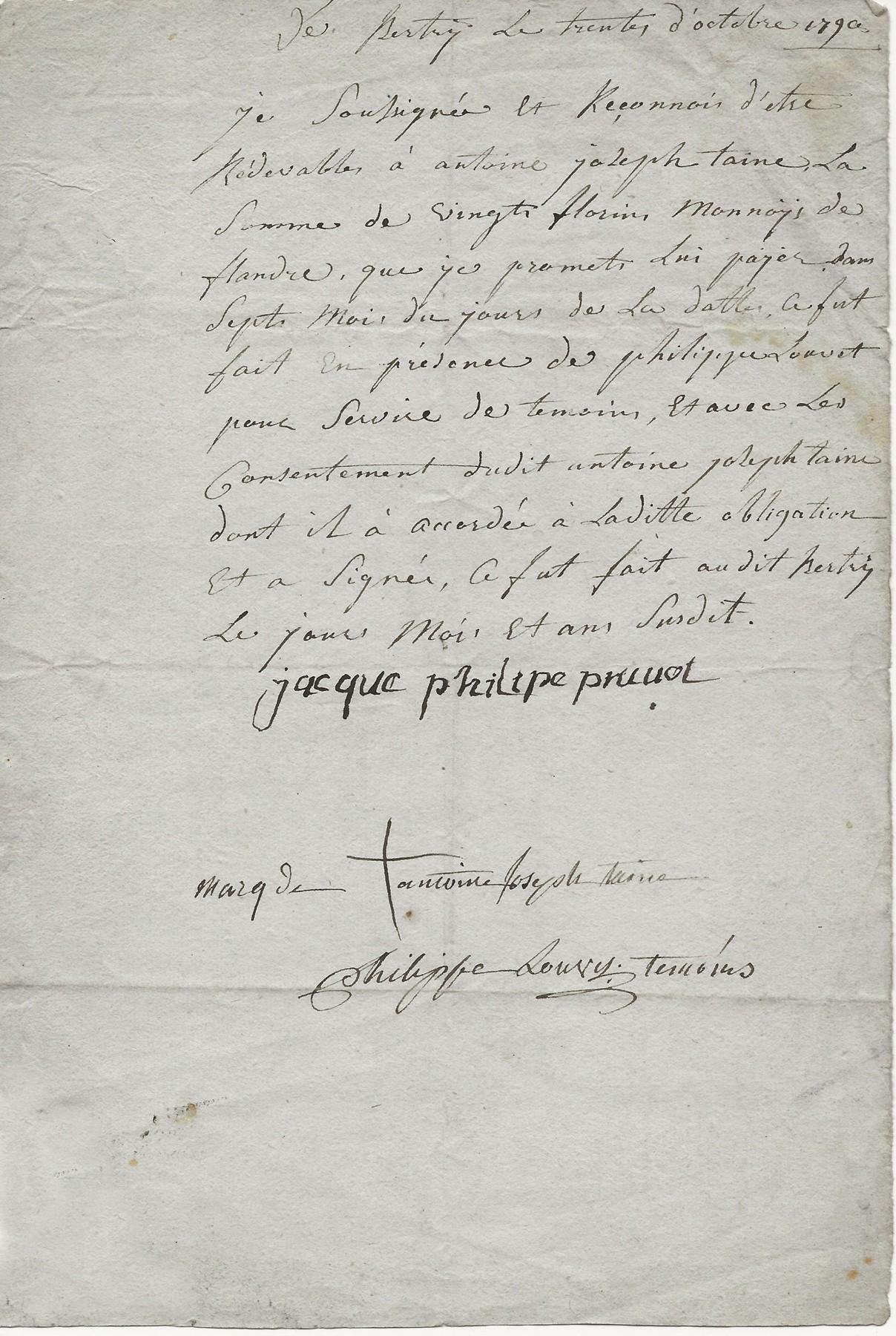 1790 recon de dette antoine taisne a philippe pruvot