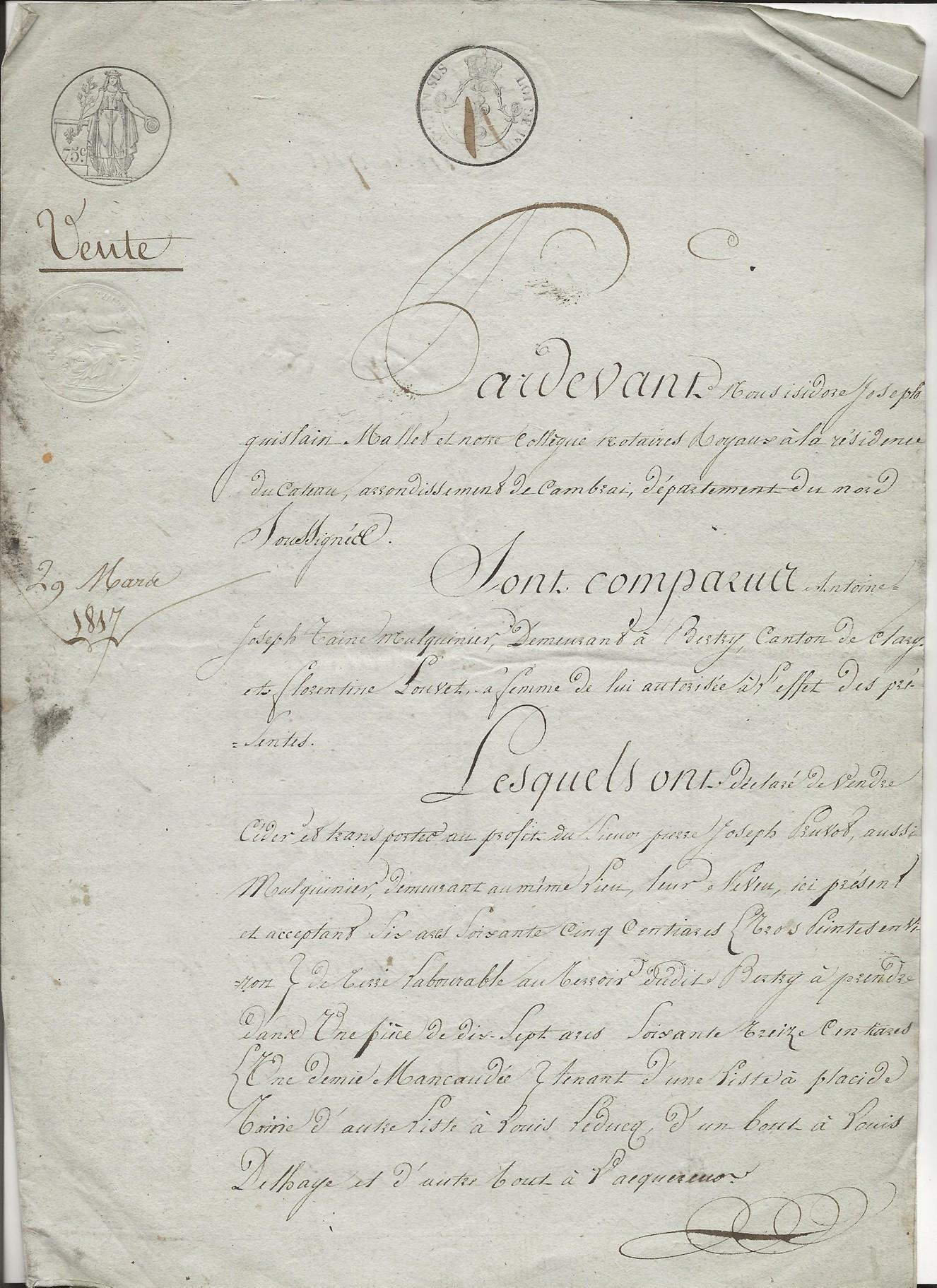 1817 vente taine a pruvot 001