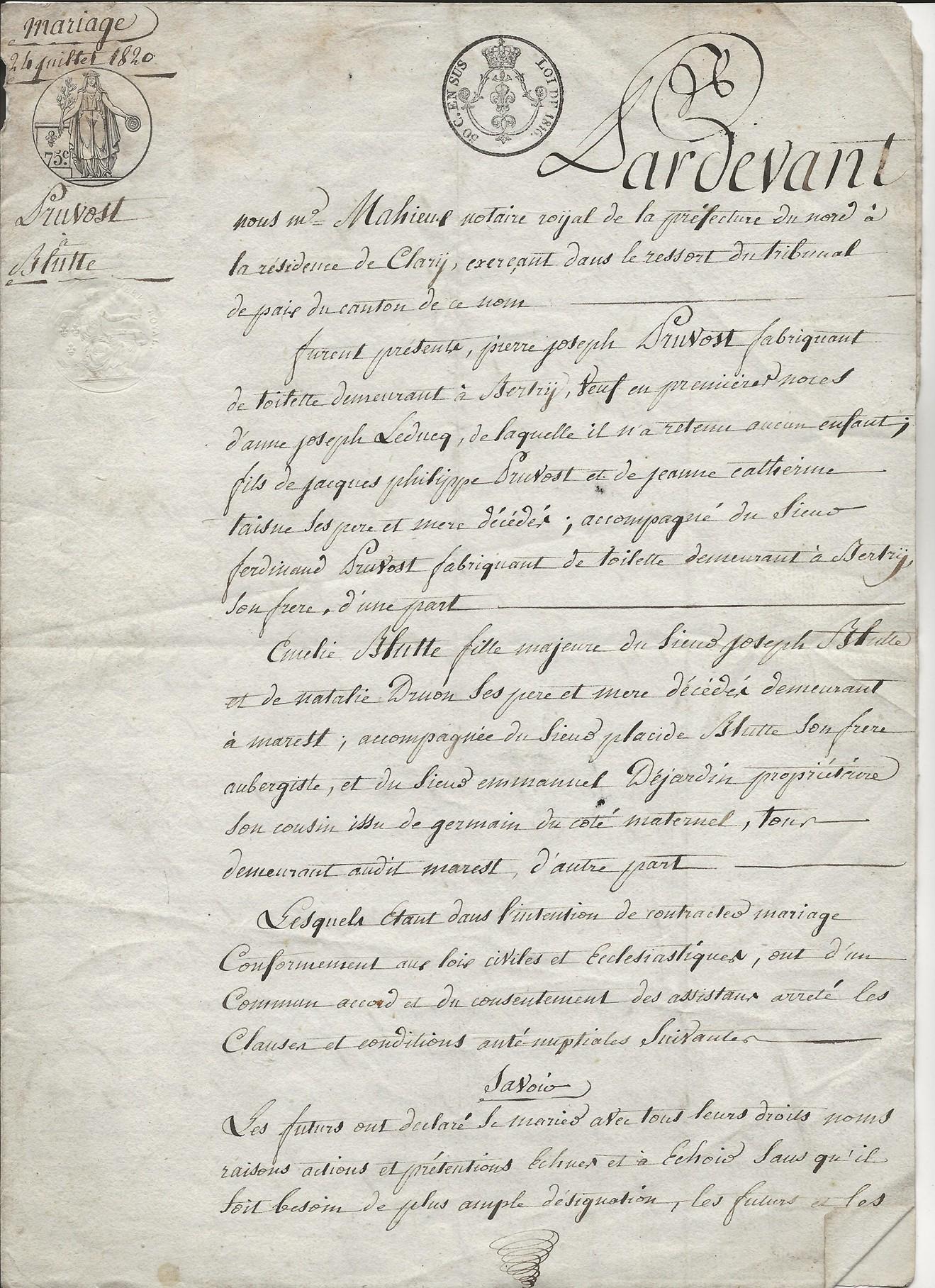 1820 contrat mariage pierre jr pruvot x blutte amelie 001