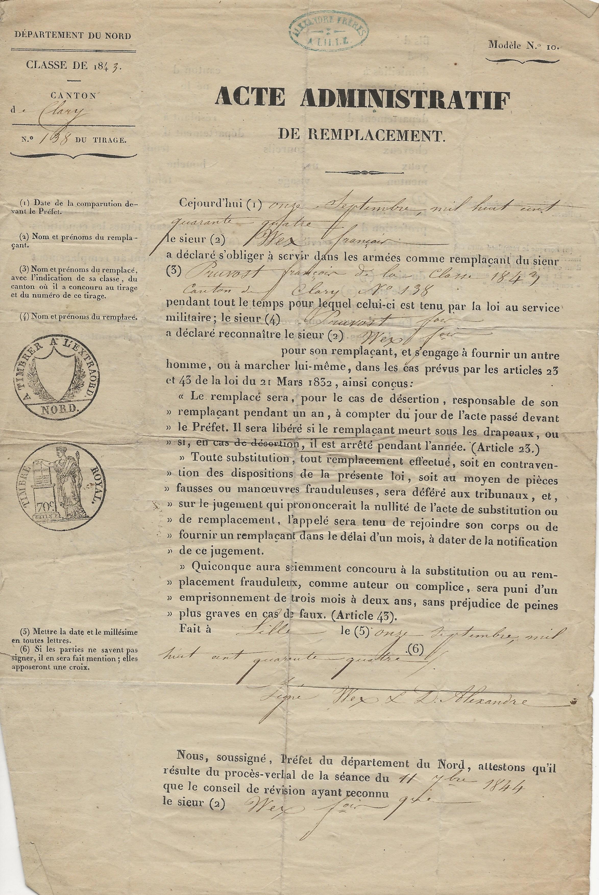 1844 acte de remplacement de francois pruvot 001