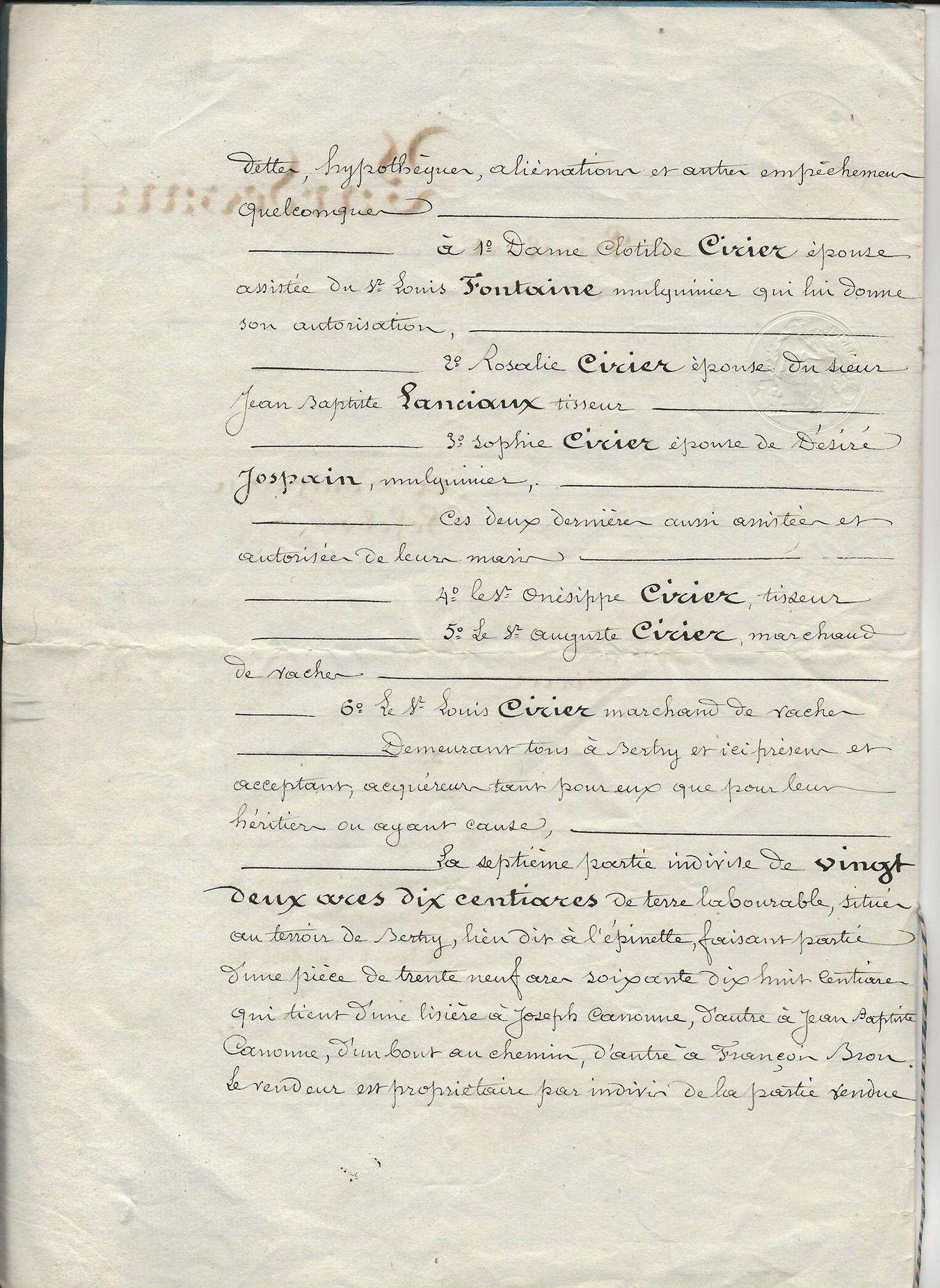 1849 vente terrrain amina ciriez a ses freres et soeurs 002