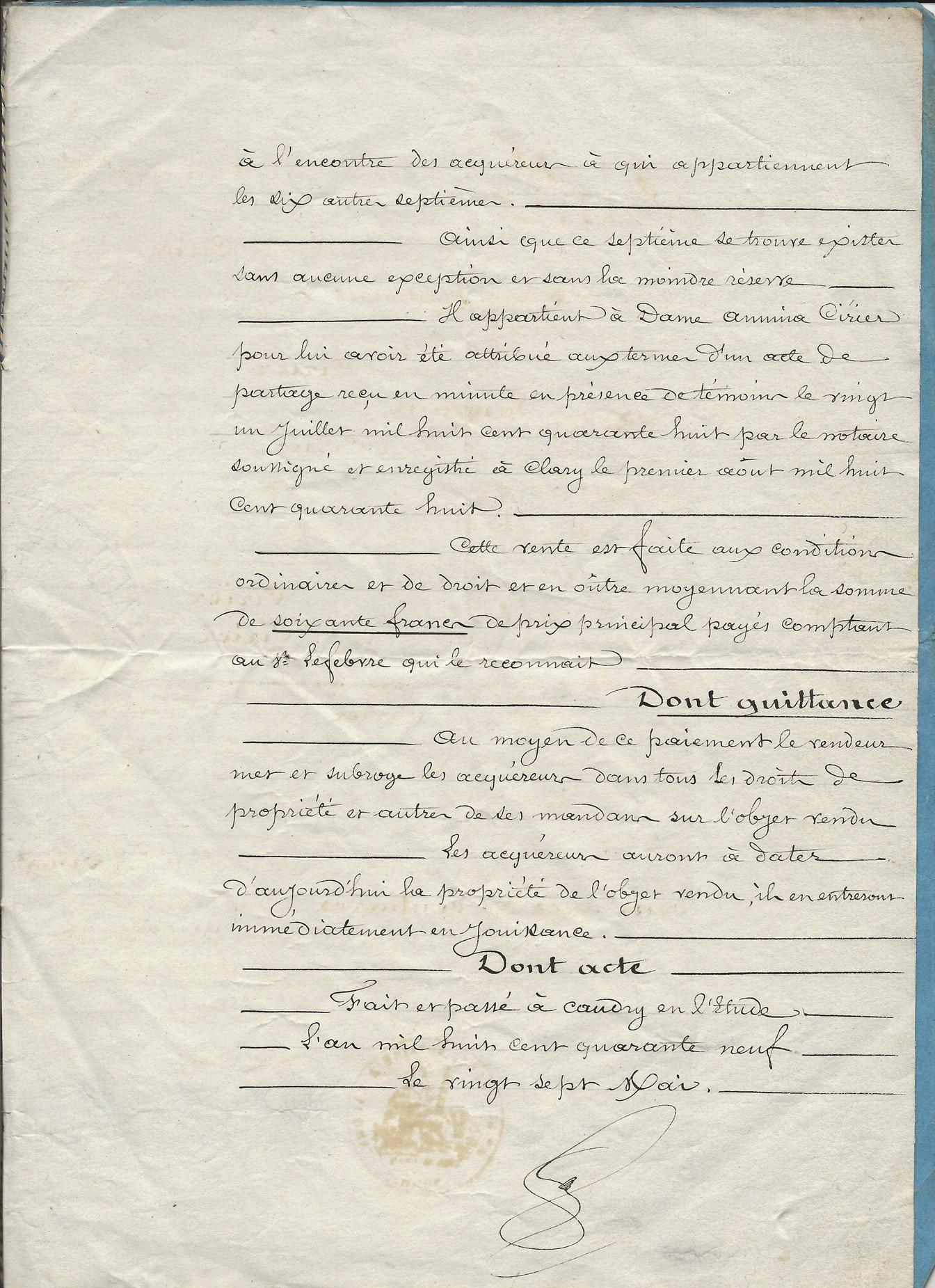 1849 vente terrrain amina ciriez a ses freres et soeurs 003