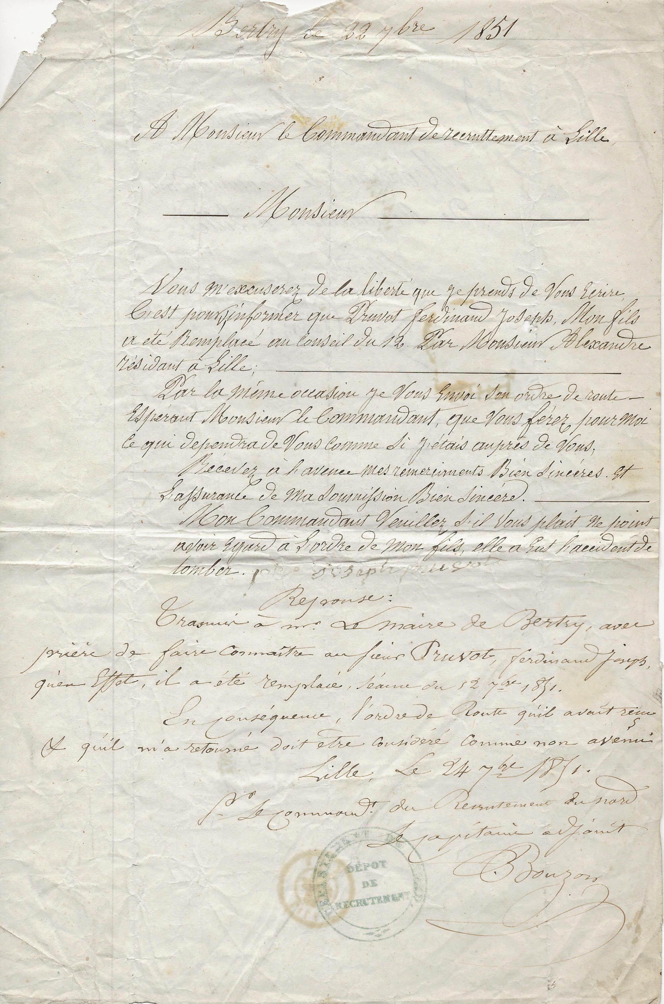 1851 courrier pruvot ph pour ferdinant armee 001