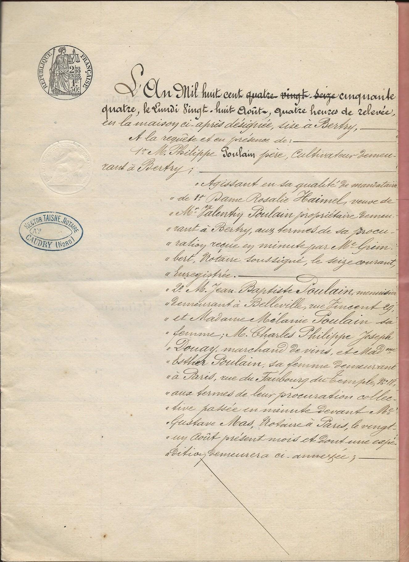 1854 vente adjucation vve poulain haimel a jeremy poulain 001