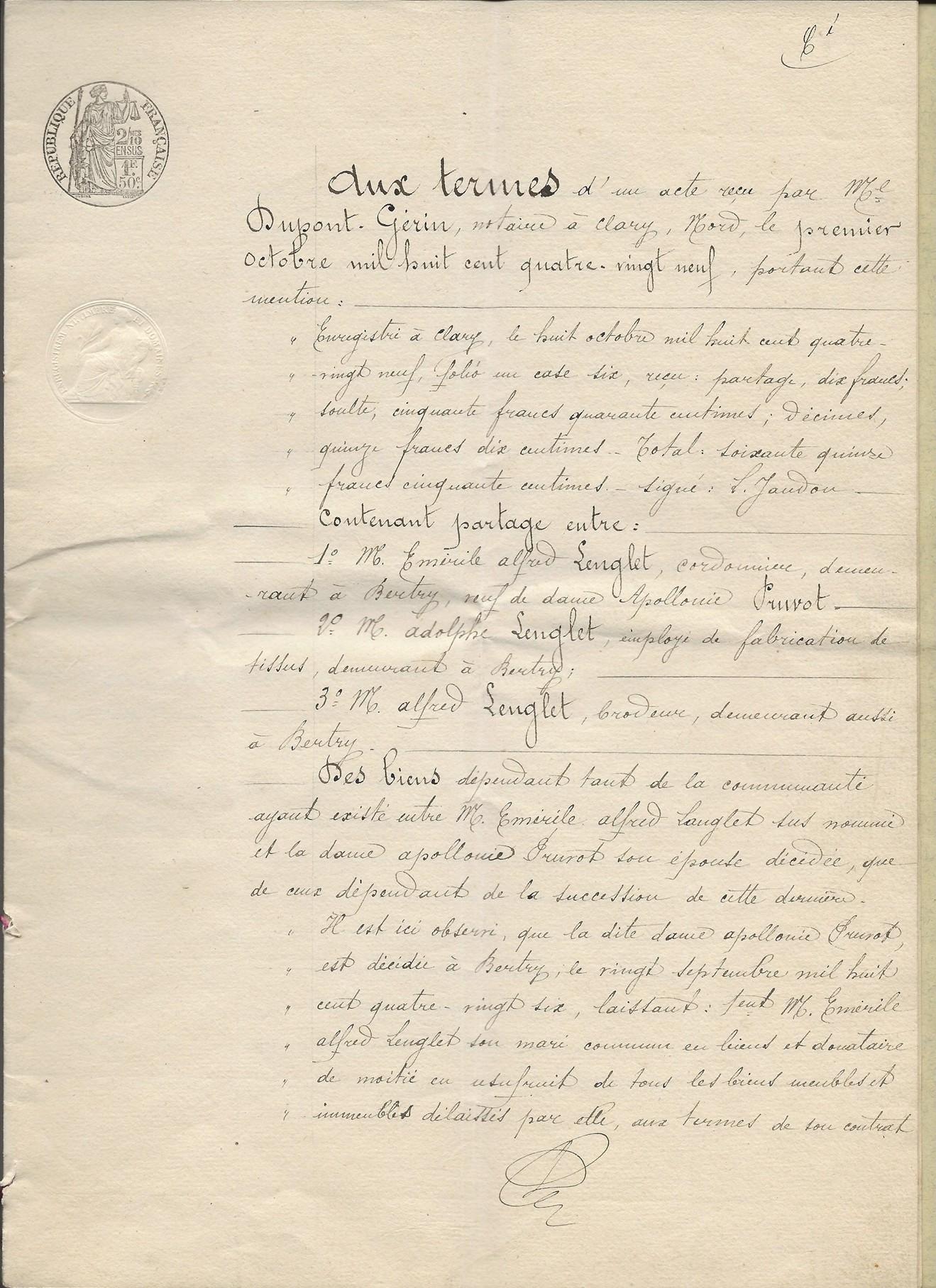 1889 succession de appolonie pruvot epouse lenglet emerile 001