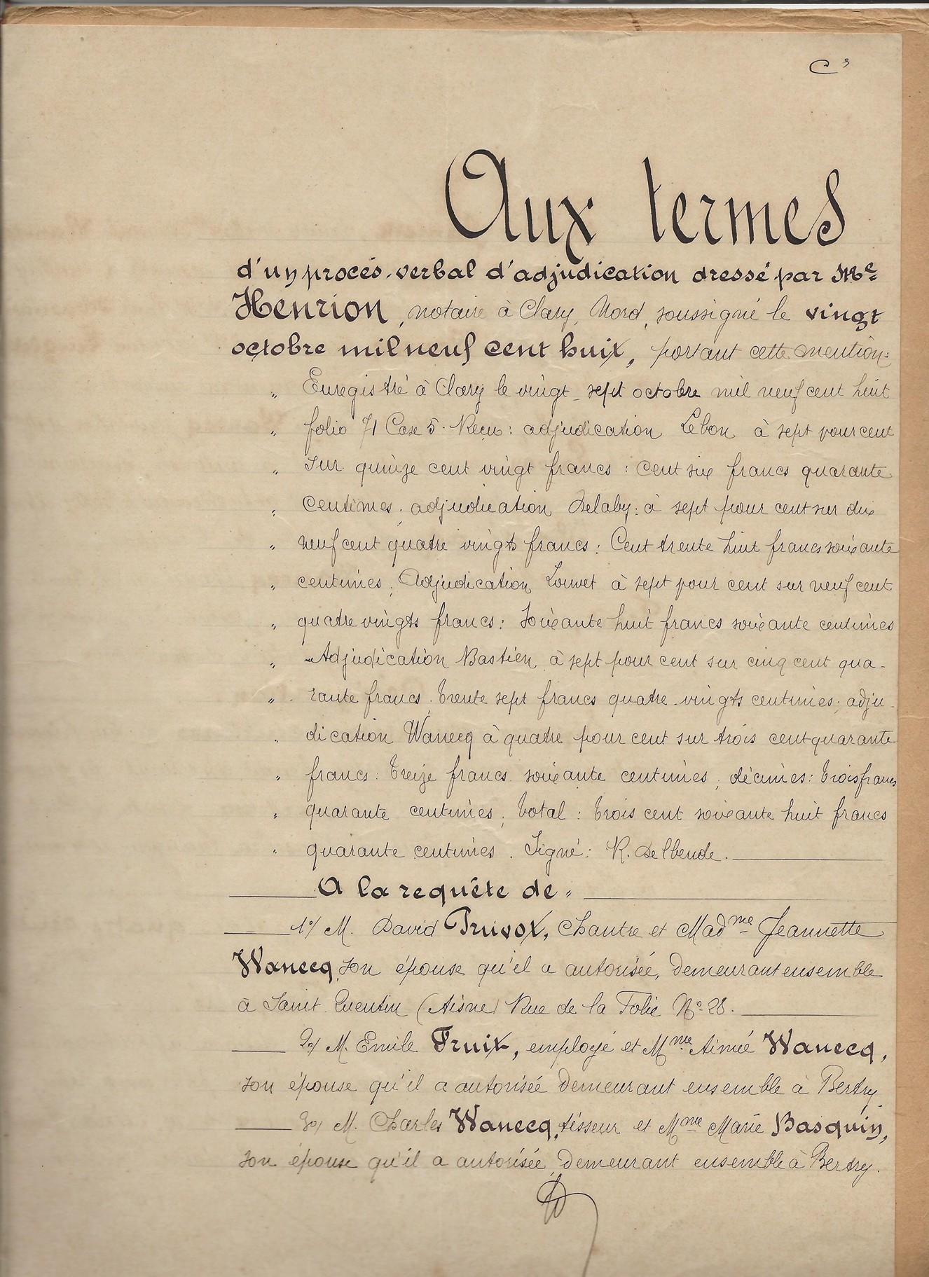 1908 adjudication vente biens alcide wanecq x elisabeth louvet 001