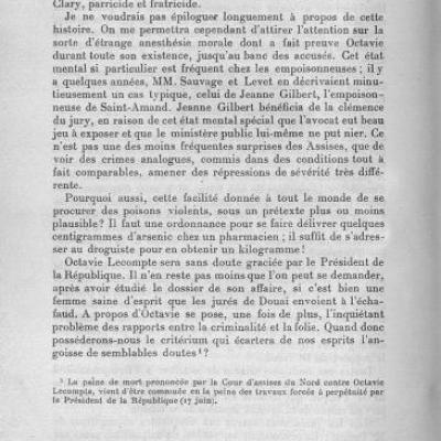 Traité médico légal, affaire Octavie Lecompte