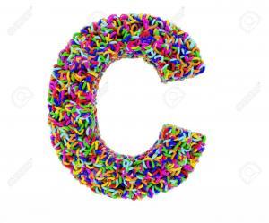 47838420 lettre c composee d anneaux multicolores