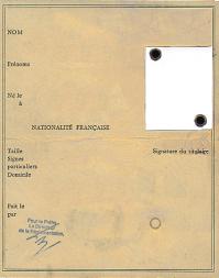 Carte identite ancienne