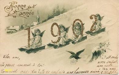 Carte postale voeux 1902