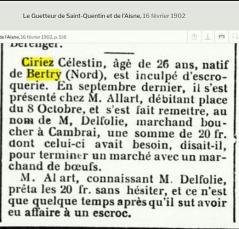 Ciriez celestin escroquerie 16 02 1902