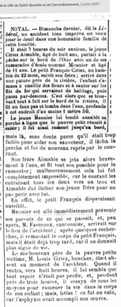 Ciriez francois noyade 1887