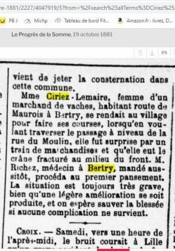 Ciriez lemaire fracture crane 19 10 1881