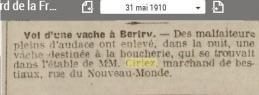 Ciriez vol d une vache 31 05 1910