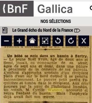 Coupure presse deces noel fruit 1907