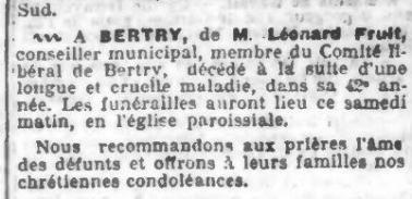 Deces leonard fruit la croix 27 07 1907