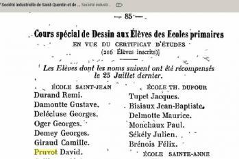 Diplome dessin david pruvot 25 juillet 1901