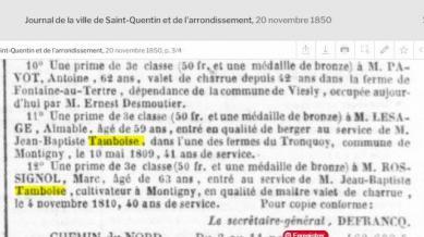 Ferme tronquoy prime employes 1850