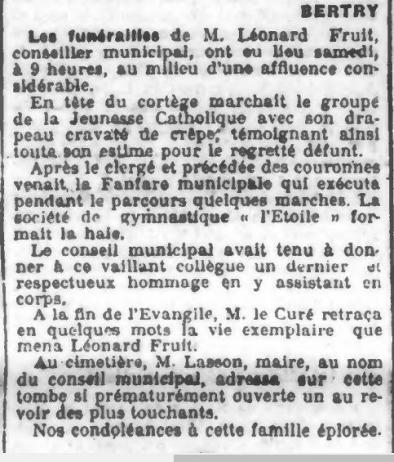 Funerailles leonard fruit 1907