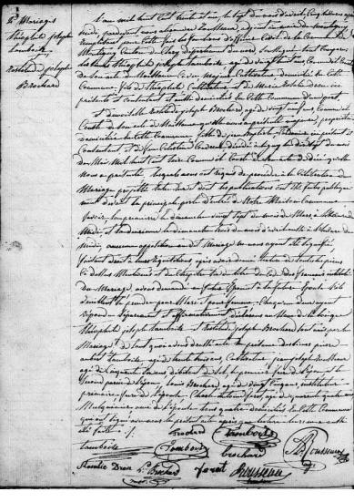 Mariage tamboise brochard 1831
