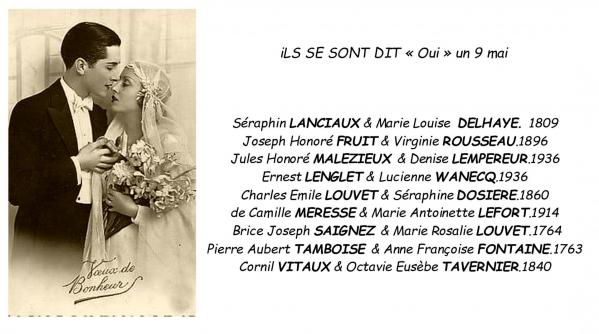 Mariages 9 mai