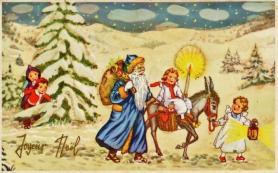 Pere noel bleu et les enfants dans la neige