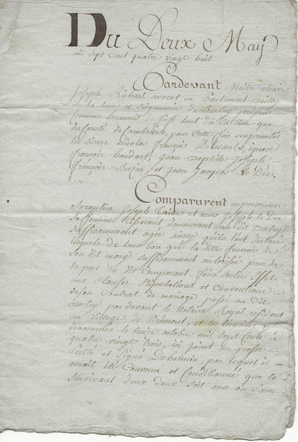 1788 contrat mariage seraphin taine x anne leduc 001