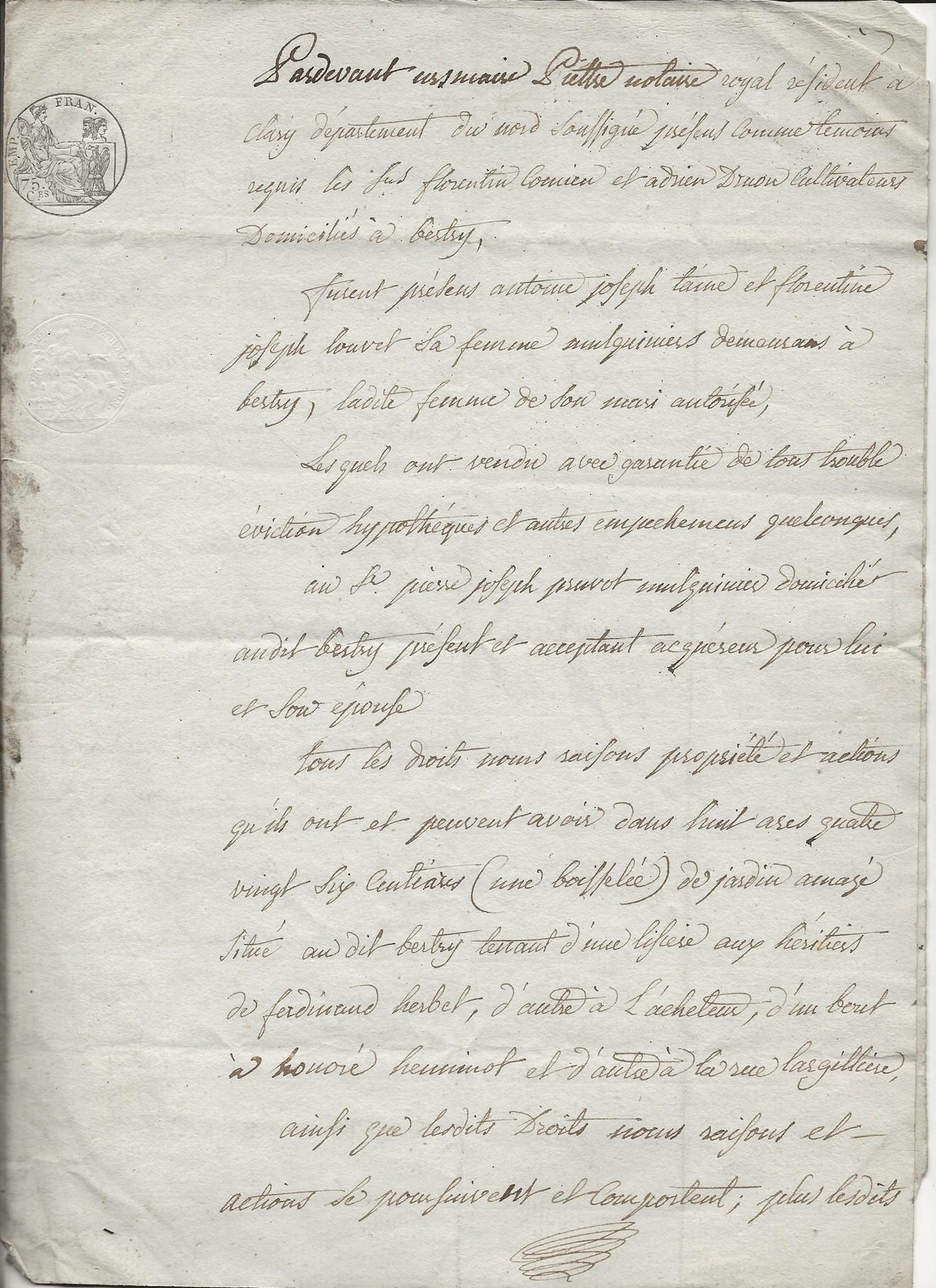 1814 vente terrains taine louvet a pierre joseph pruvot 001