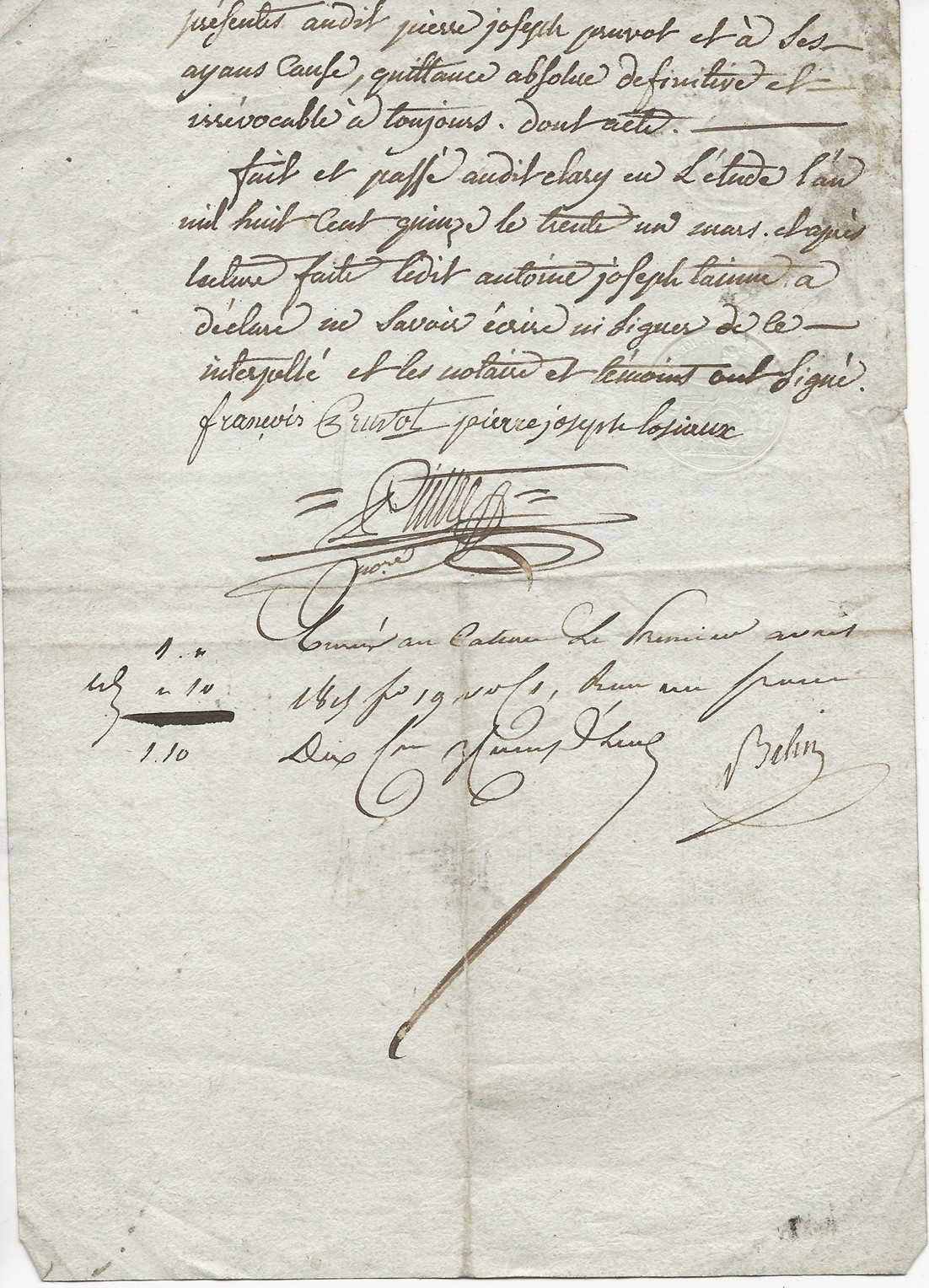 1815 quittance pierre jh pruvot a antoine jh taine 002
