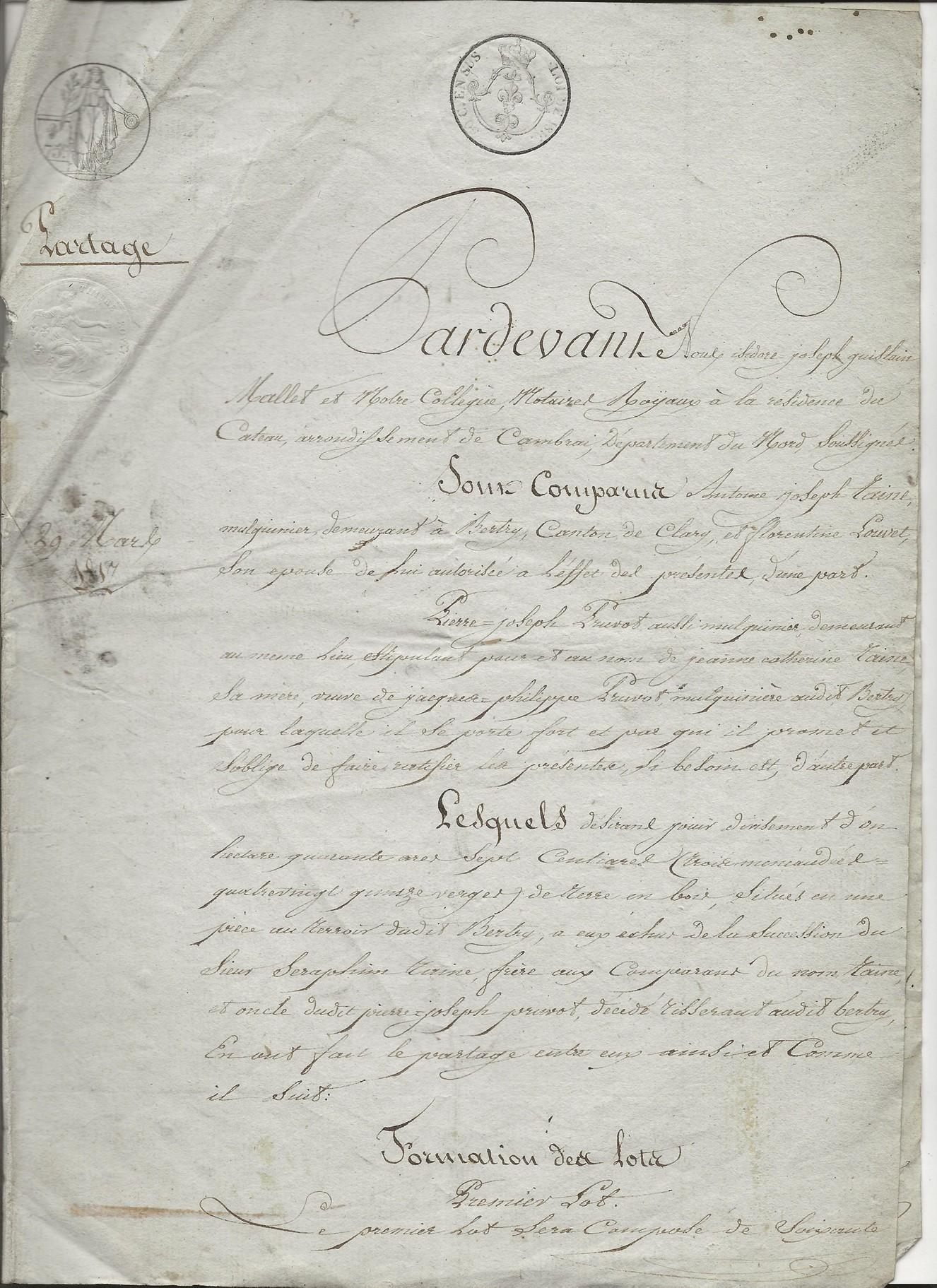 1817 partage biens antoine taine x florentine louvet 001