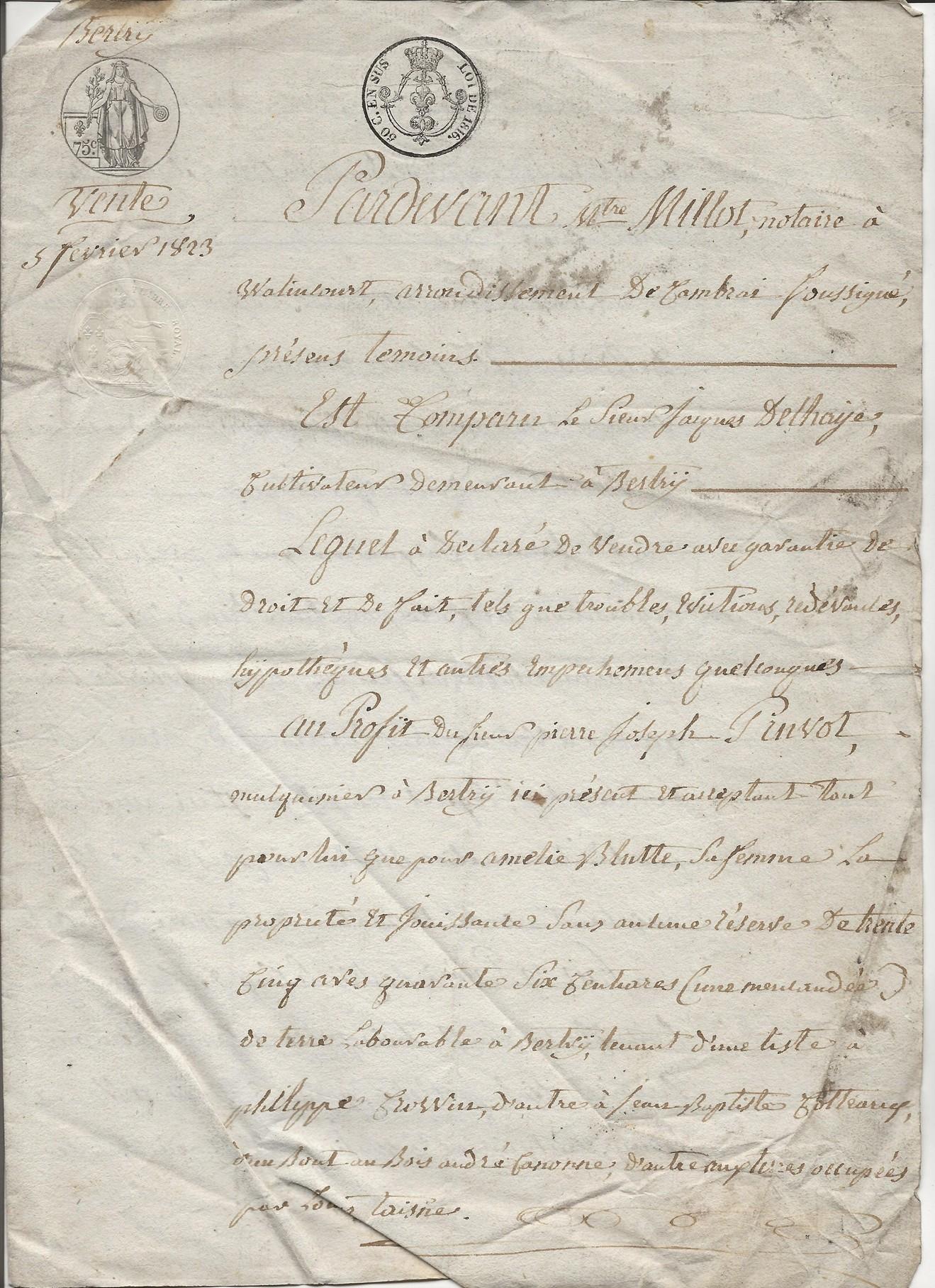 1823 vente terrain jacques delhaye a pierre jh pruvot 001