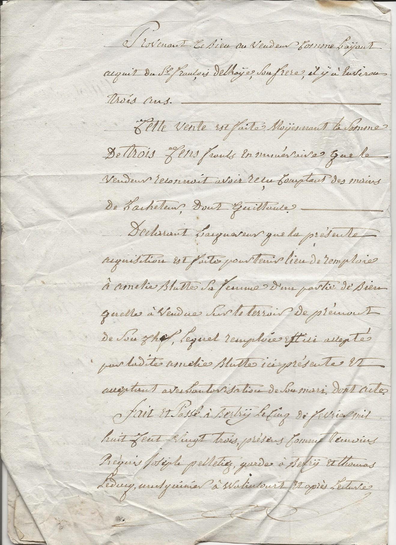 1823 vente terrain jacques delhaye a pierre jh pruvot 002
