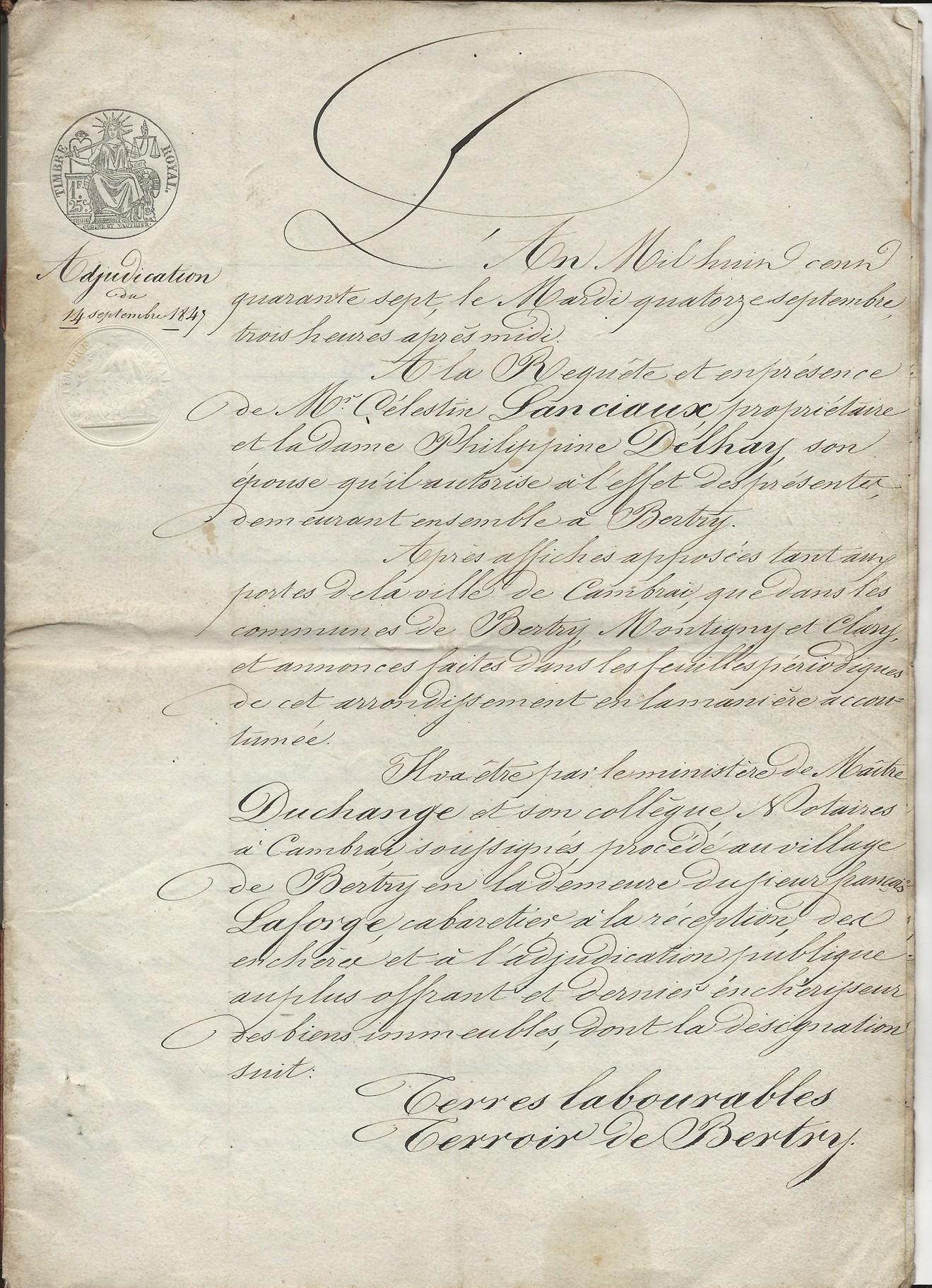 1847 adjudication terres lanciaux pruvot 001