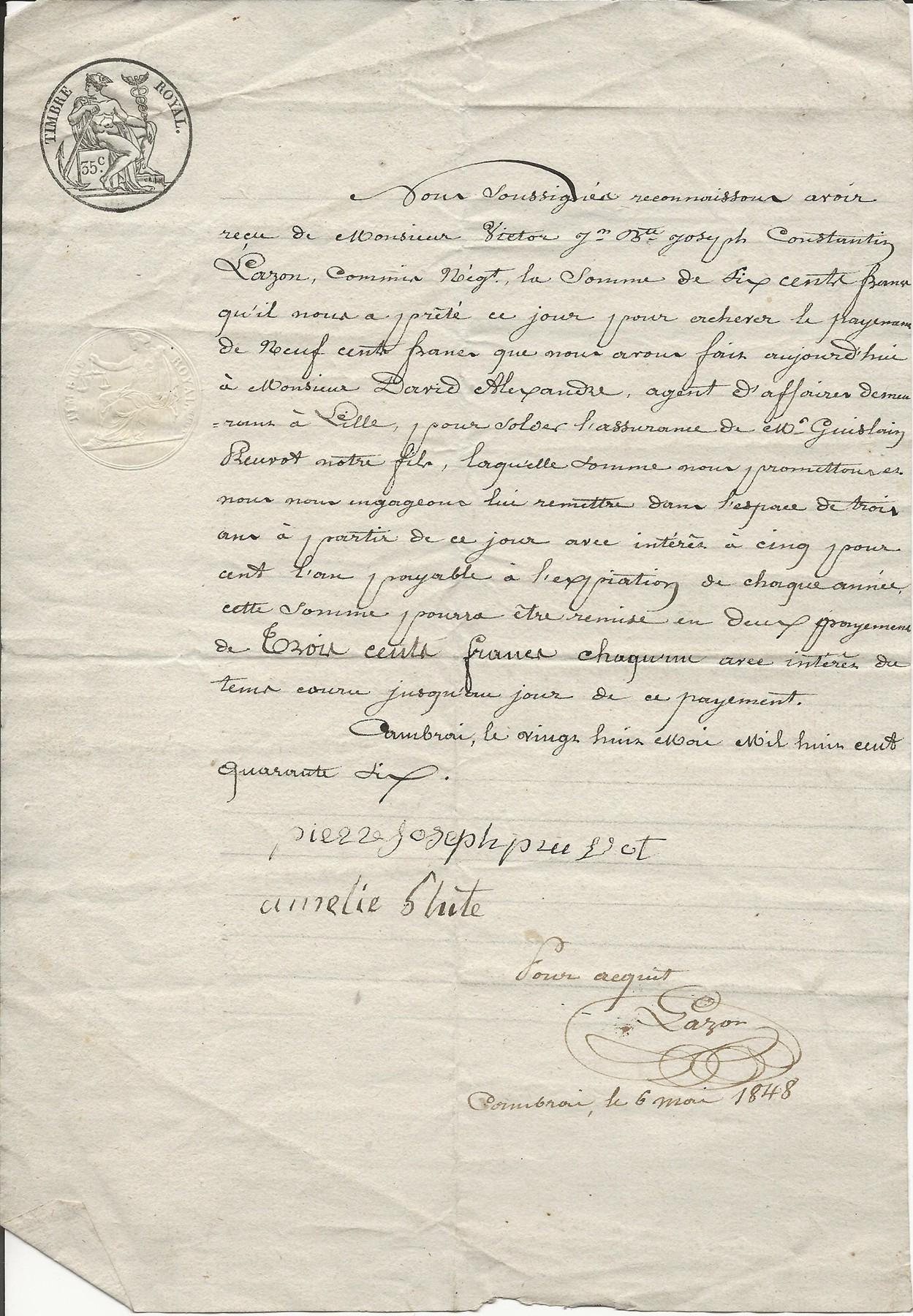 1848 reconnaissance dette pj pruvot 001