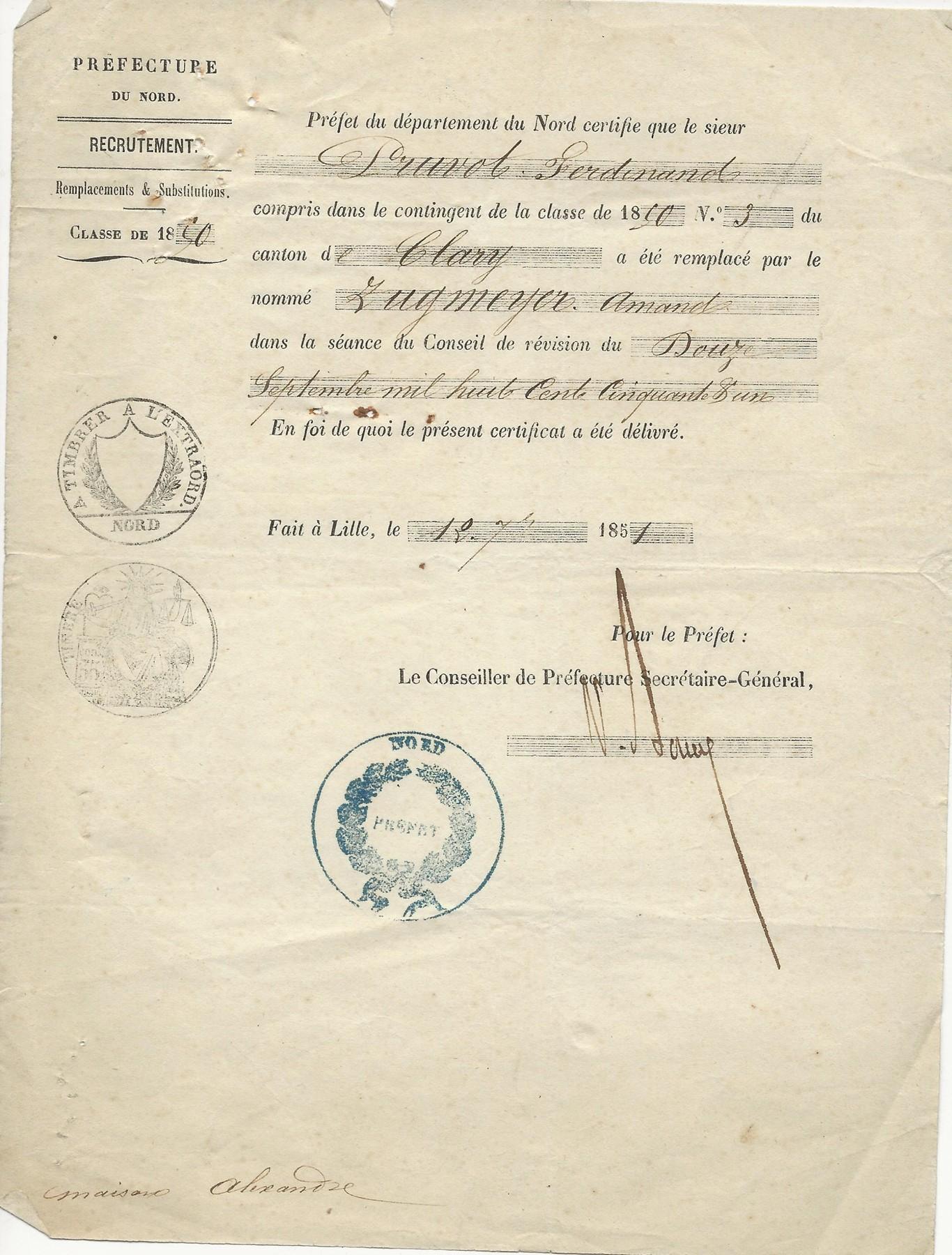 1851 attestation de remplacement de pruvot ferdinand 001